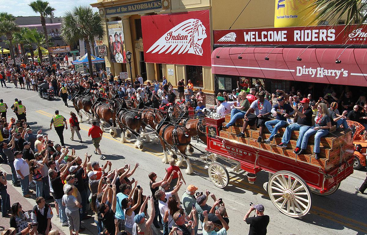 NEWS-JOURNAL/JIM TILLER   The world famous Clydesdayles parade west on Main Street in Daytona Beach Saturday afternoon, March 15, 2014 as Bike Week enjoys it\'s final hour.