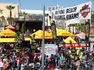 NEWS-JOURNAL/JIM TILLER  The lot next to Dirty Harry\'s on Main Street was pack with bikers in town for Bike Week 2014 in Daytona Beach Sunday, March 9, 2014