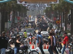 News-Journal/JIM TILLER Looking west form the Boardwalk show a packed Main Street in Daytona Beach Friday , March 13, 2015.