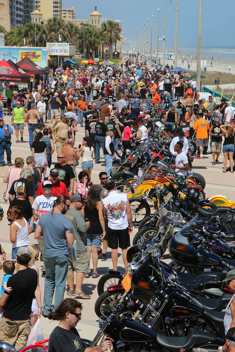 People pack the Boardwalk Bike Show on the Boardwalk as Bike Week 2016 heads into it's final weekend in Daytona Beach Friday, March 11, 2016. News-Journal/JIM TILLER