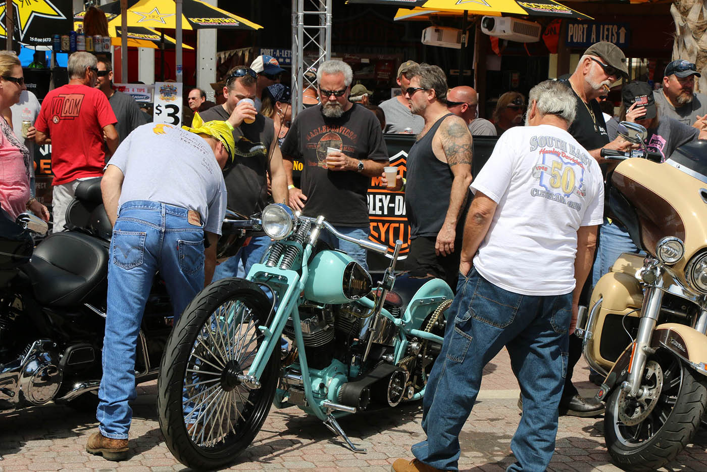 Biker soak up the final hours of  Bike Week 2016 on Main Street after a week of perfect weather and record crowds Saturday March 12, 2016. News-Journal/JIM TILLER