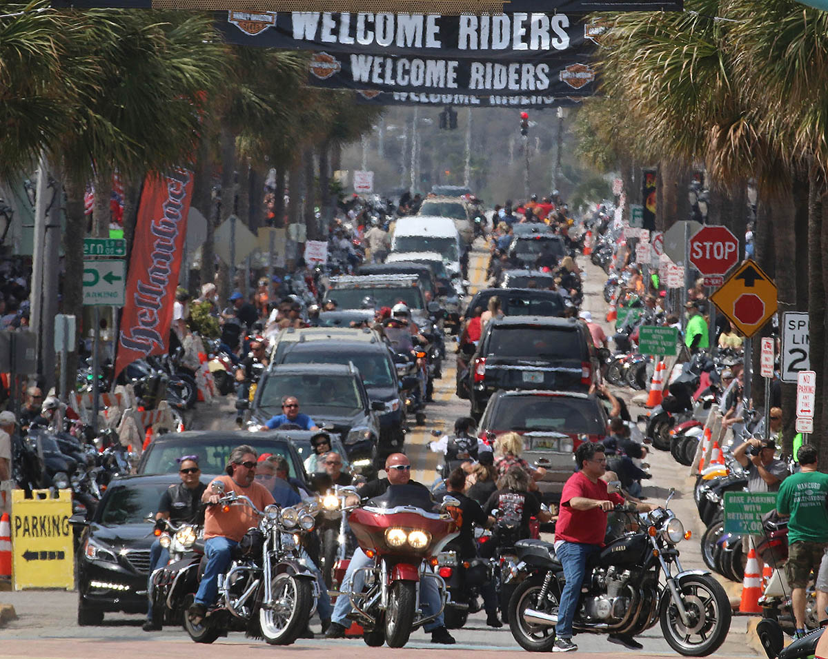 Bikers soak up the final hours of  Bike Week 2016 on Main Street after a week of perfect weather and record crowds Saturday March 12, 2016. News-Journal/JIM TILLER