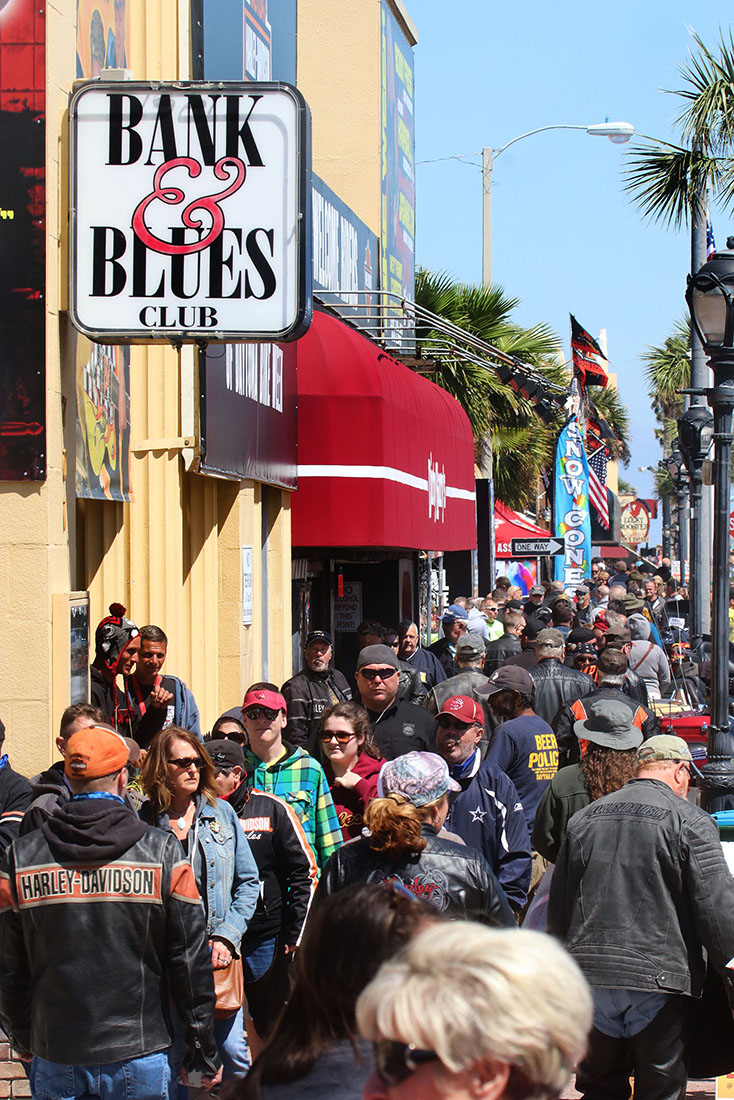 People pack the sidewalk along Main Street as bikers braved the cold temperatures  Wednesday  March 15, 2017 as Bike Week rolled on. [News-Journal/JIM TILLER ]