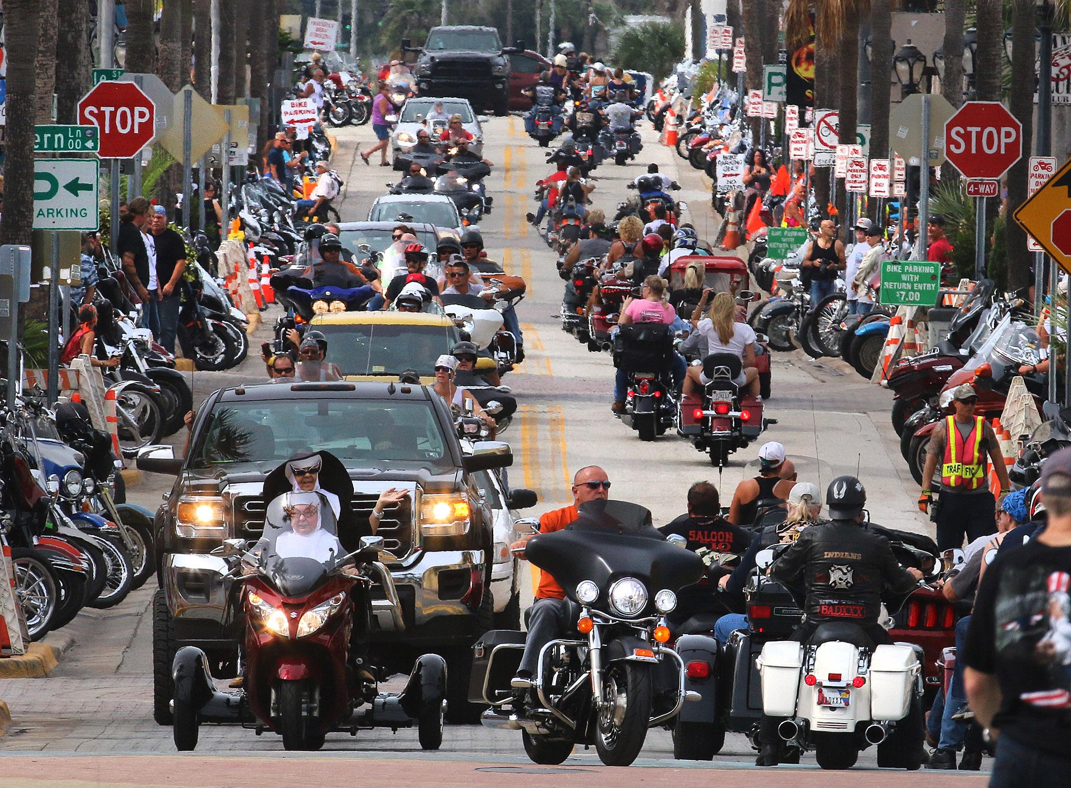 Looking west down Main Street as Biketoberfest rolls into day 2 in Daytona Beach Friday  October 16, 2015. News-Journal/JIM TILLER