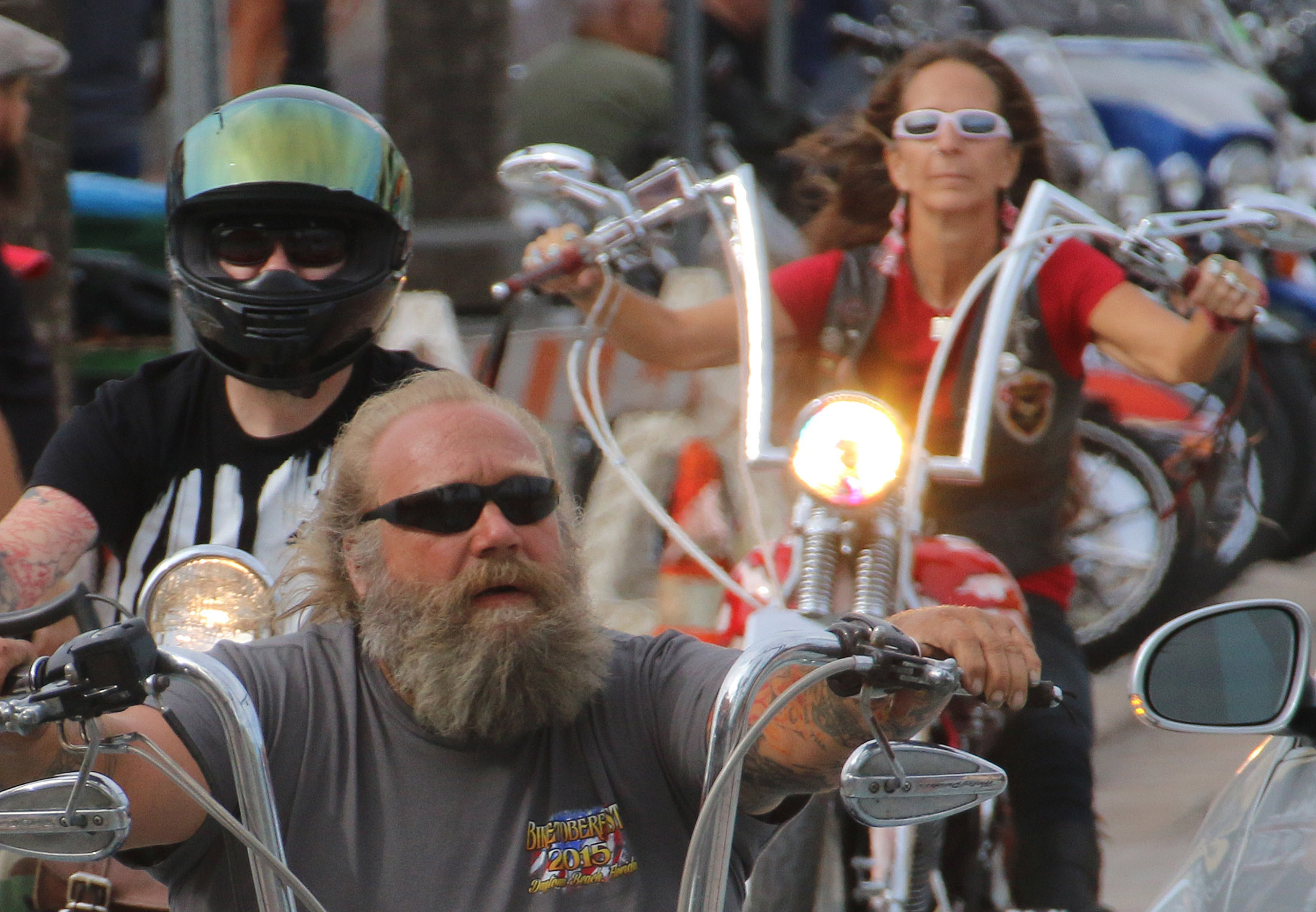 Bikers of all sizes, shapes, and genders were on the motorcycles as Biketoberfest rolls into day 2 in Daytona Beach Friday  October 16, 2015. News-Journal/JIM TILLER