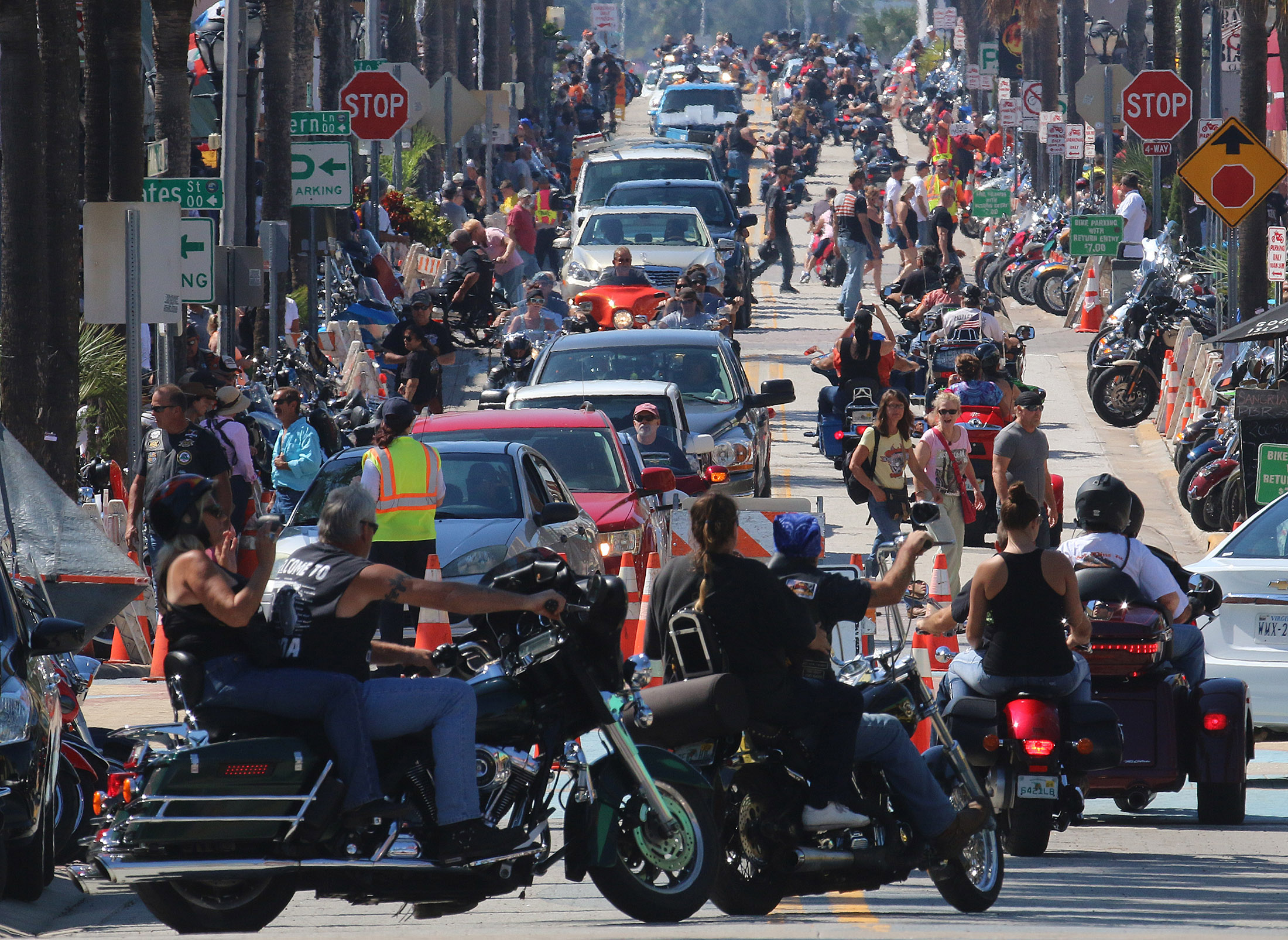 Images from day three of Biketoberfest 2015 on Main Street  in Daytona Beach Saturday  October 17, 2015. News-Journal/JIM TILLER