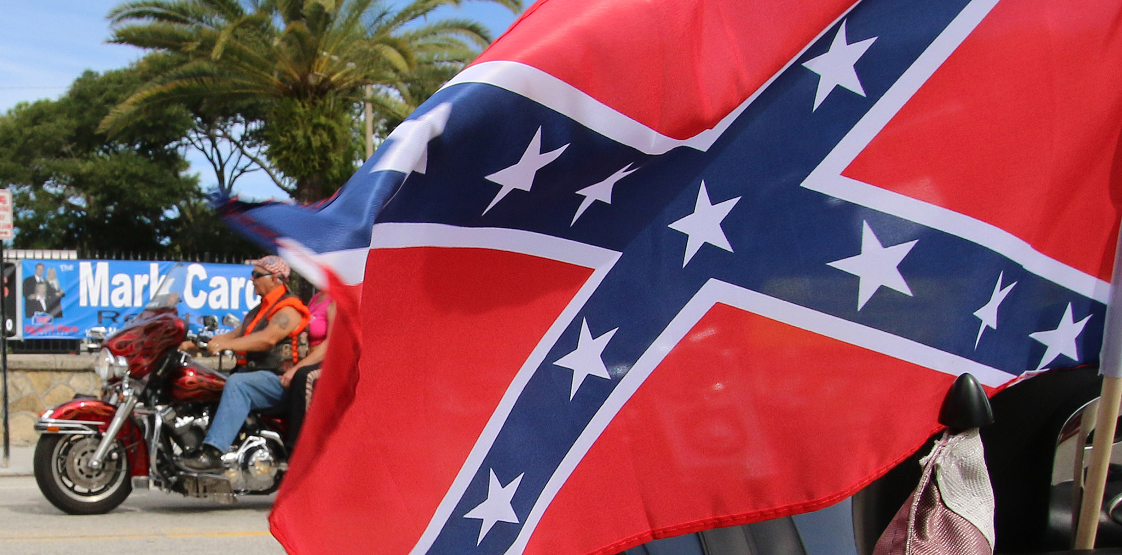 The stars & bars are a familiar sight during Biketoberfest as it rolls into day 2 in Daytona Beach Friday  October 16, 2015. News-Journal/JIM TILLER