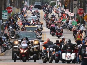 Looking west down Main Street as Biketoberfest rolls into day 2 in Daytona Beach Friday  October 16, 2015. News-Journal/JIM TILLER