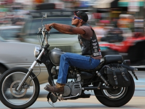 A biker streaks south on A1A as Biketoberfest rolls into day 2 in Daytona Beach Friday  October 16, 2015. News-Journal/JIM TILLER