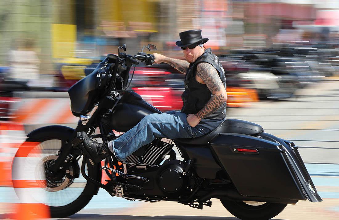 A biker streaks north on A1A as Biketoberfest heads into the weekend in Daytona Beach Friday October 20, 2017. [NEWS-JOURNAL/Jim Tiller]