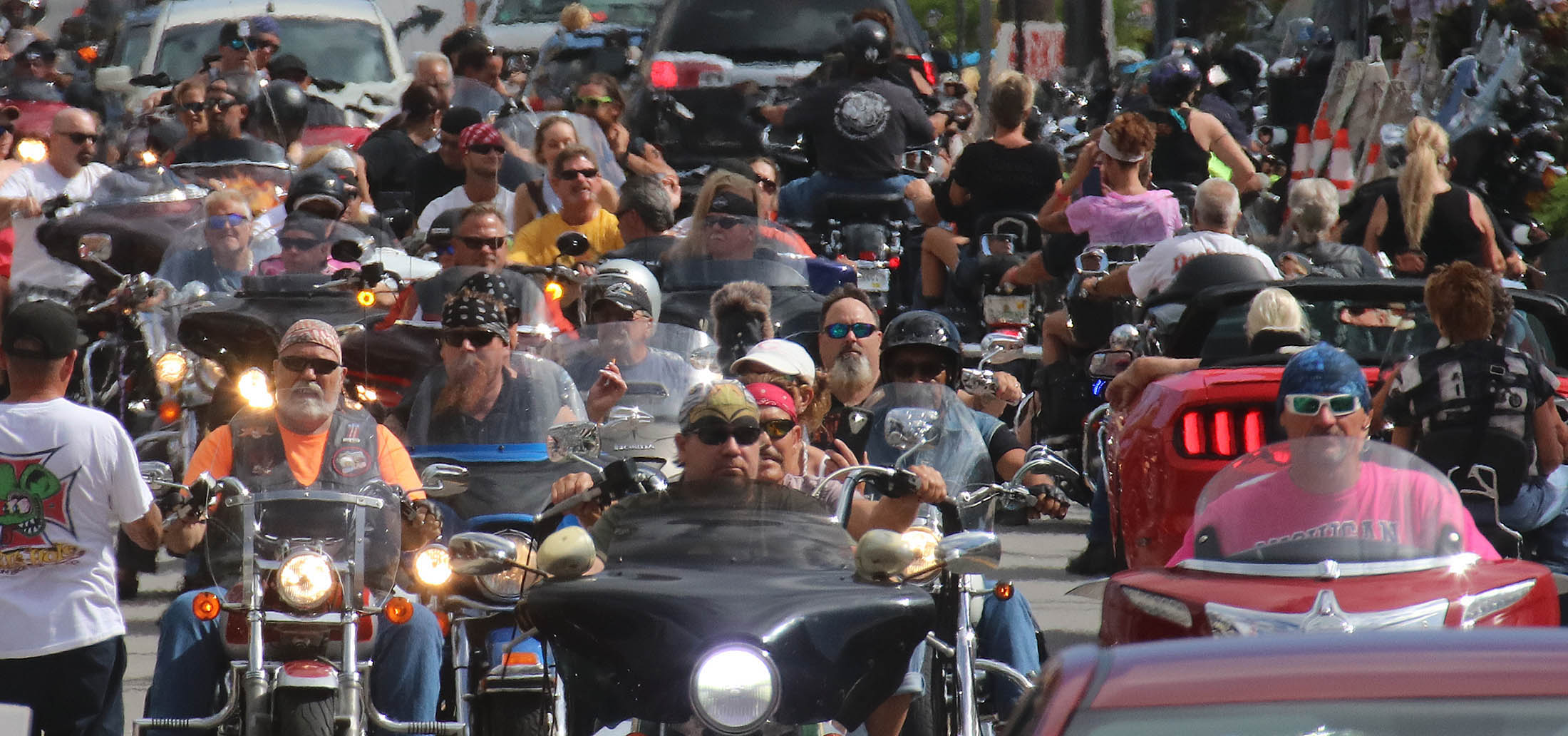 A sea of motorcycles and riders pack Main Street as Biketoberfest heads into the weekend in Daytona Beach Friday October 20, 2017. [NEWS-JOURNAL/Jim Tiller]