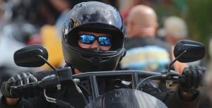 A biker with attitude rolls down Main Street as Biketoberfest heads into the weekend in Daytona Beach Friday October 20, 2017. [NEWS-JOURNAL/Jim Tiller]