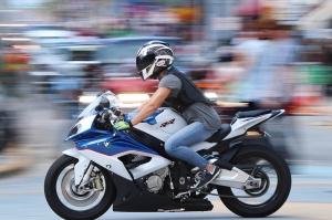 A biker streaks south along A1A in as Biketoberfest heads into the weekend in Daytona Beach Friday October 20, 2017. [NEWS-JOURNAL/Jim Tiller]