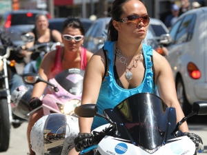 Lady bikers were out in force along Main Street in Daytona Beach to check out Bikeweek 2012 Tuesday, March 13, 2012. (Photo JIm tiller )