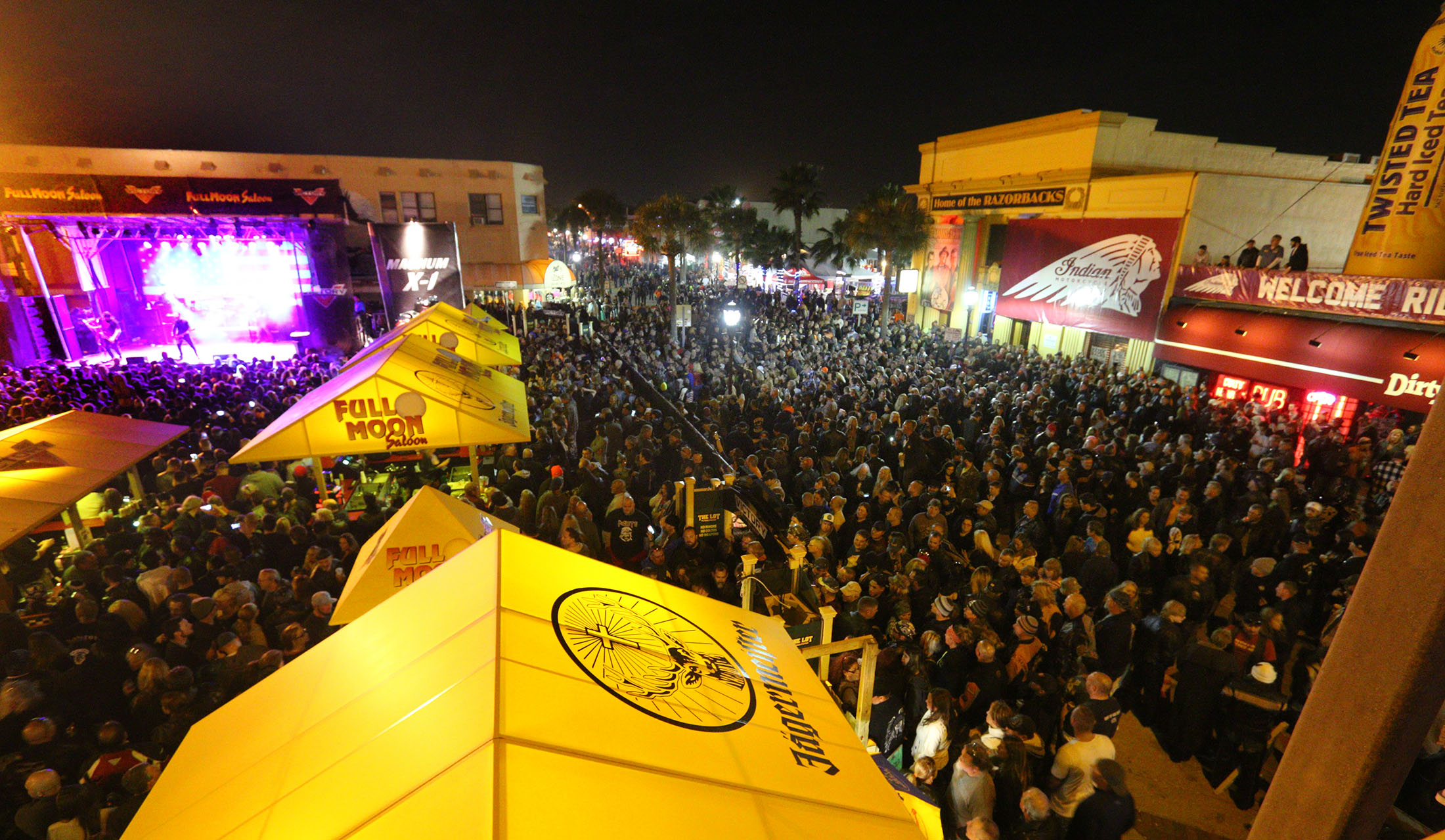 News-Journal/JIM TILLER   Lead singer Sully Erna from the band Godsmack belts out a song at the Full Moon Saloon lot Saturday night where the crowd grew so large that  Main Street in Daytona Beach had to be closed durning the Bike Week 2015 concert.