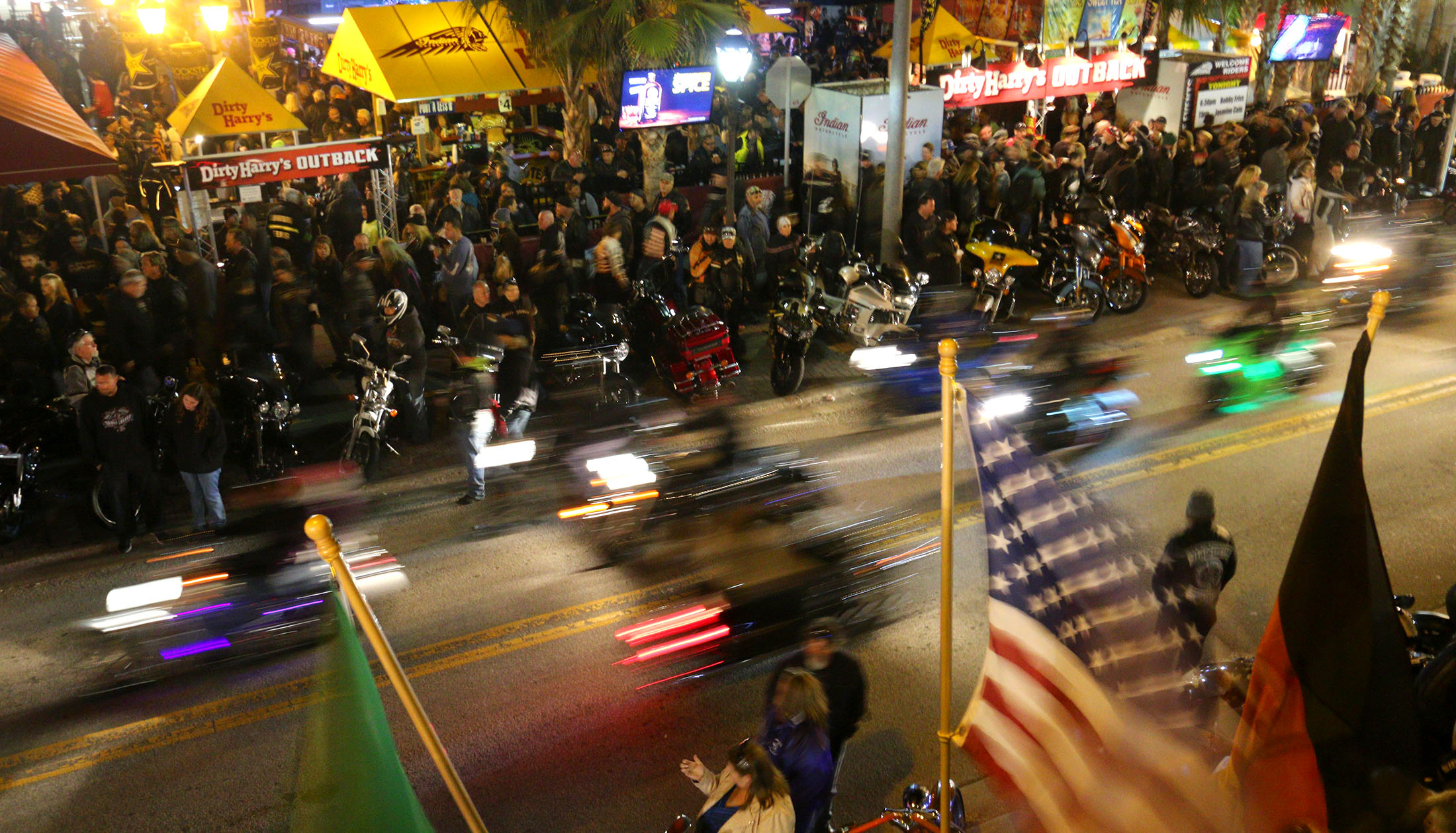 News-Journal/JIM TILLER   Night scenes from Bike Week 2015 on Main Street in Daytona Beach Saturday, March 9, 2015