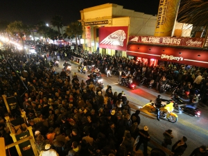 News-Journal/JIM TILLER Crowds wanting to hear the Godsmack concert swell to the point of closing Main Street Saturday night during Bike Week 2015 in Daytona Beach.