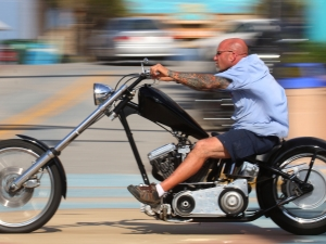 News-Journal/JIM TILLER   A biker streaks north on A1A  in Daytona Beach as Bike Week 2015 hits first gear Thursday, March 5, 2015.