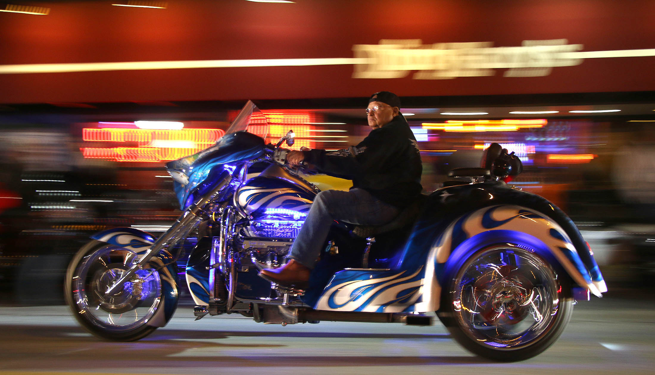Night falls on the final weekend of Bike Week 2016 on Main Street after a week of perfect weather and record crowds Friday  night, March 11, 2016. News-Journal/JIM TILLER