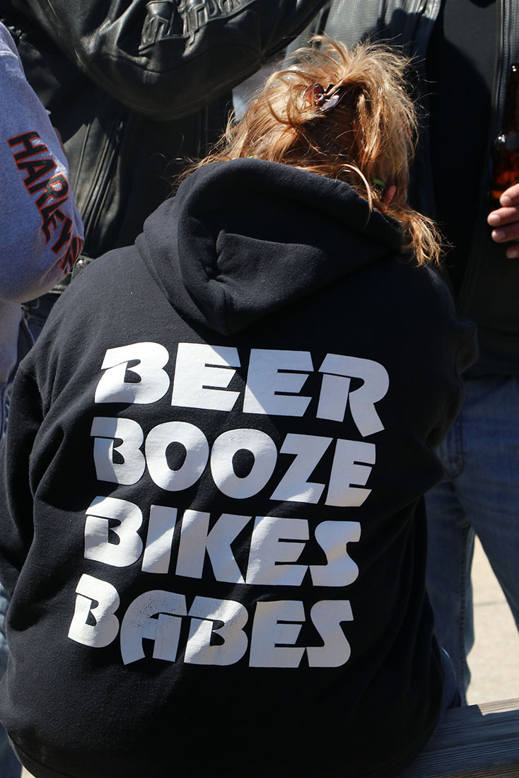 This T-shirt says it all as bikers braved the cold temperatures during Bike Week in Daytona Beach Wednesday  March 15, 2017. [News-Journal/JIM TILLER ]
