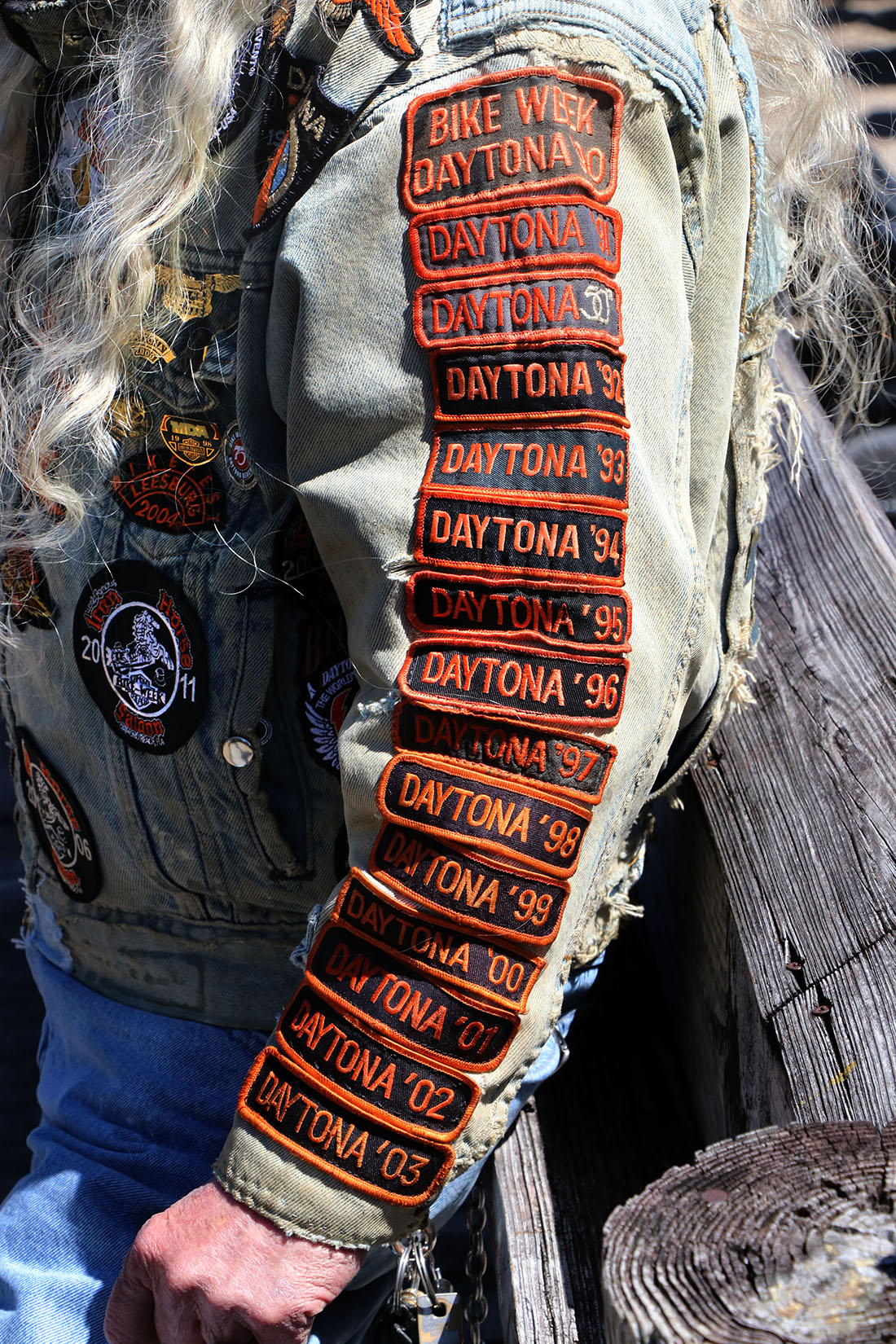 A return customer to bike week displays his patches on his shirt sleeve at the Iron Horse Saloon Thursday, March 17,  2017. [News-Journal/JIM TILLER ]