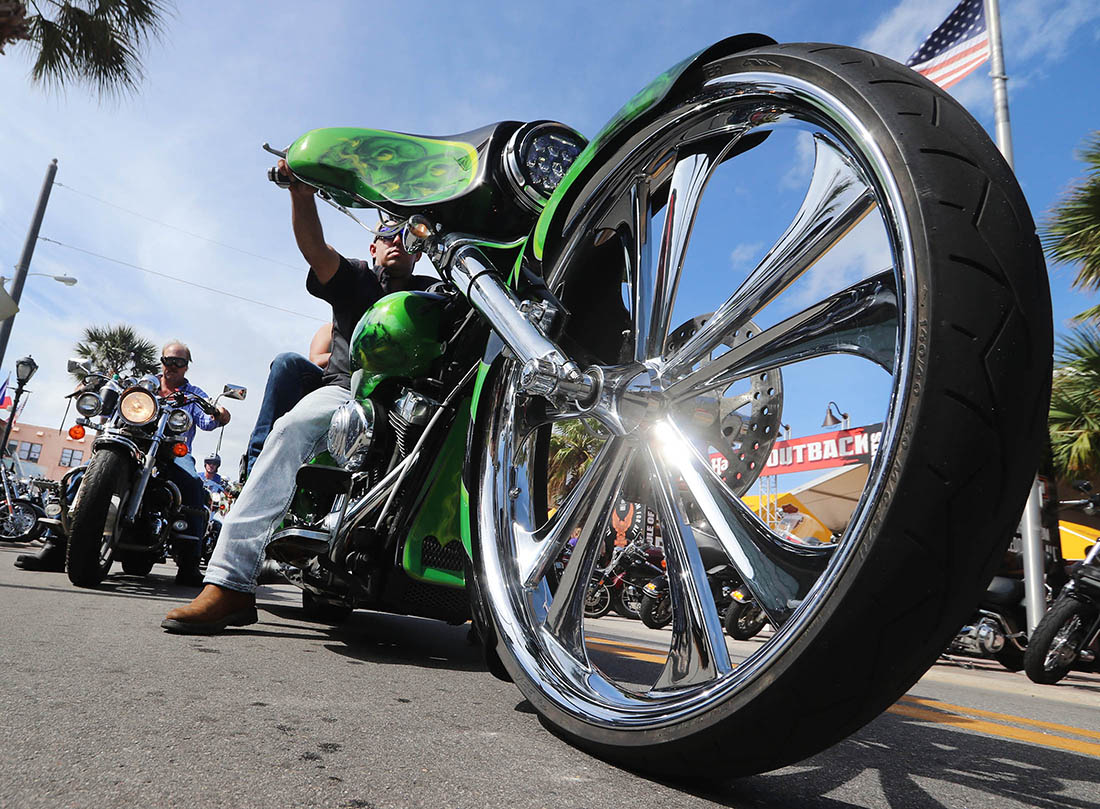 Big bikes, big wheels and big times on the 25th Anniversary of Biketoberfest  in Daytona Beach Saturday October 21, 2017. [NEWS-JOURNAL/Jim Tiller]  WAS INTERVIEWED BY NIKKI