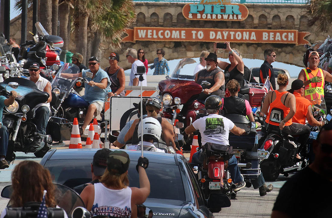 Bikers in town for Biketoberfest Jam Main Street on the  25th Anniversary of the event in Daytona Beach Saturday October 21, 2017. [NEWS-JOURNAL/Jim Tiller]  WAS INTERVIEWED BY NIKKI